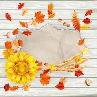 Рамка из листьев и подсолнечника
