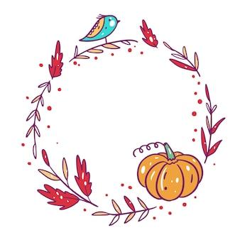 나뭇잎 가을 프레임 손으로 그린 만화 스타일.