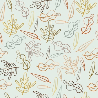 Leaves autumn leaf abstract hand drawn seamless pattern