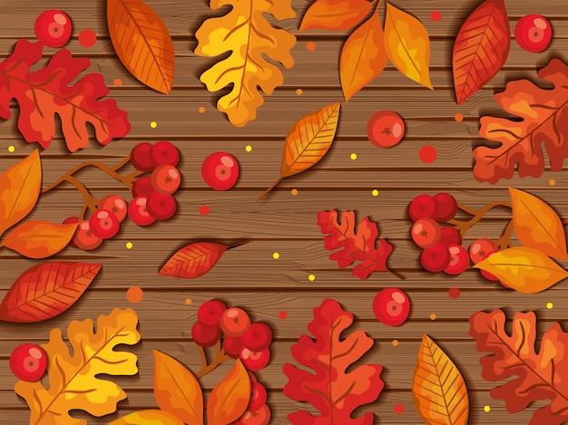 Leaves autumn on wood