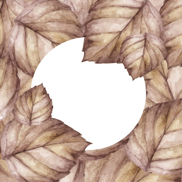 背景デザインとホワイトペーパーを残します。葉の上面図。自然の概念。水彩イラスト。