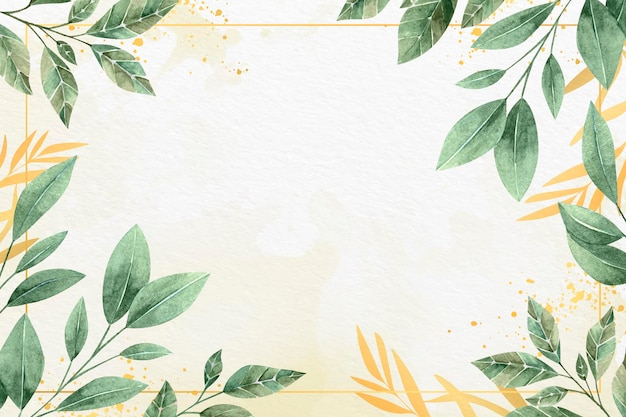 Leaves background with metallic foil concept