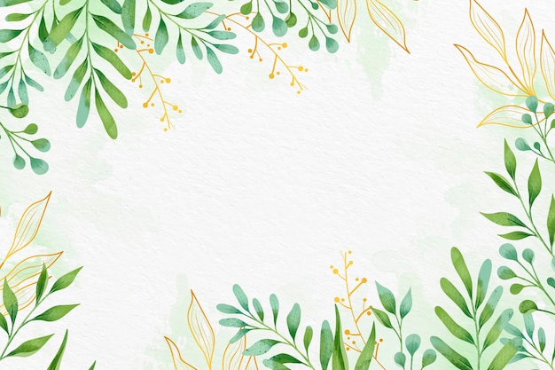 Leaves background with metallic foil style