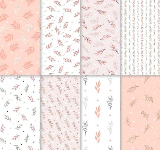 Leaves beautiful hand drawn pink and white seamless pattern set