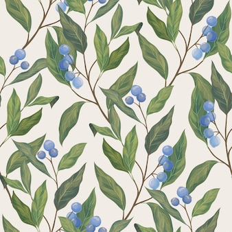 Leaves and blue berryes seamless pattern.