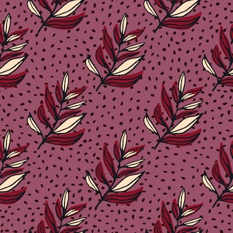 Leaves branch outline abstract seamless pattern. contoured red botanic ornament on dark lilac background with dots.