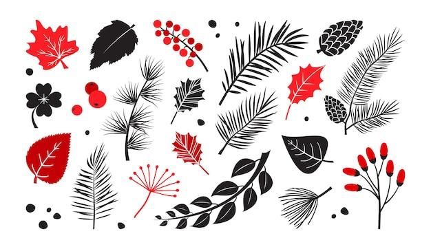 잎, 가지, 나무, 베리 벡터 세트, 가을과 겨울 식물, 흰색 배경에 손으로 그린 요소. 자연