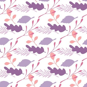 Leaves and branches vector seamless pattern on white background. backdrop flat style for textile or book covers, wallpapers, design, graphic art, wrapping