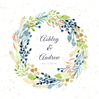 Leaves and branches watercolor floral wreath