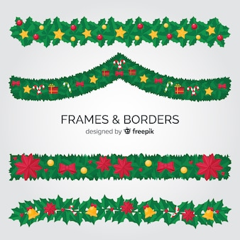 Leaves christmas frames and borders collection