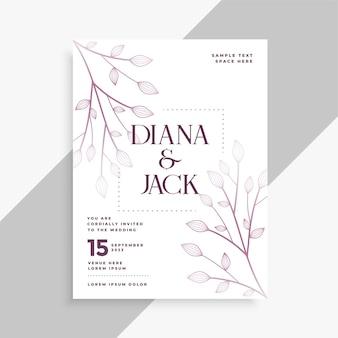 Leaves decorative wedding flyer template design