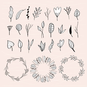 Leaves doodle collection