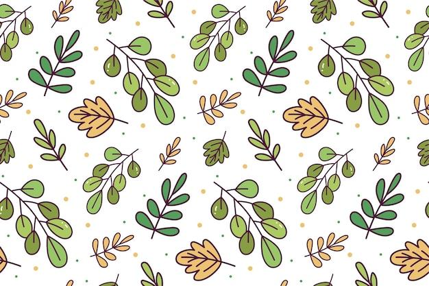 葉落書きのシームレスパターン