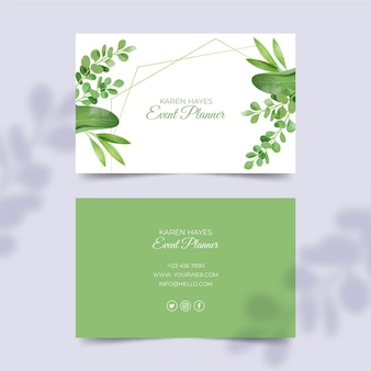 Leaves double-sided horizontal business card