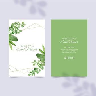 Leaves double-sided vertical business card
