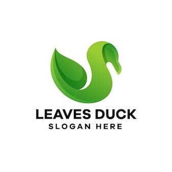 나뭇잎 오리 그라데이션 로고 디자인