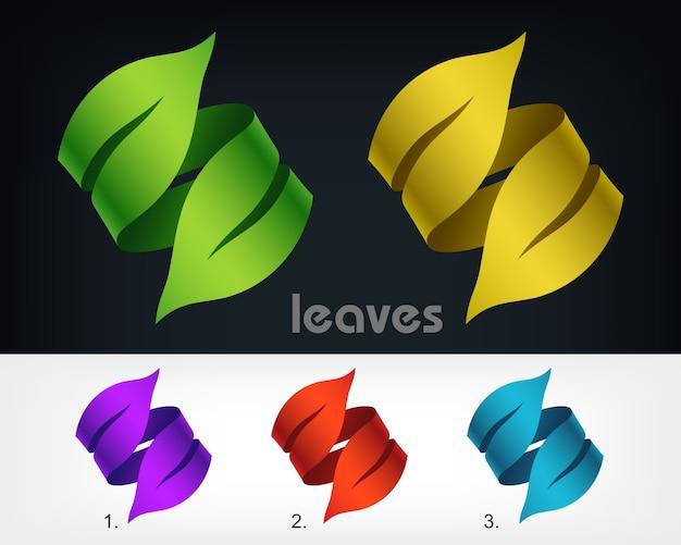 Шаблон элемента дизайна эко логотип листья, тип концепции экологии как логотип