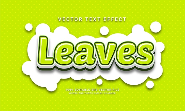 Leaves editable text effect themed natural fresh