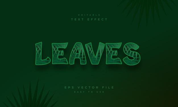 Оставляет редактируемый текстовый эффект с рисунком тропических листьев
