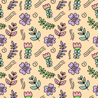 Leaves and flower doodle seamless pattern background