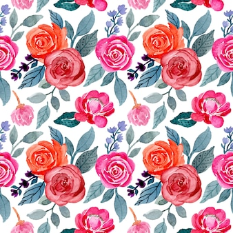 Leaves and flower watercolor seamless pattern