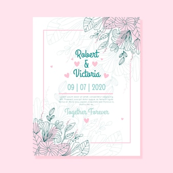 Leaves and flowers design wedding invitation with leaves