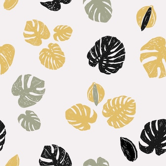 Leaves and flowers of monstera on a light background illustration