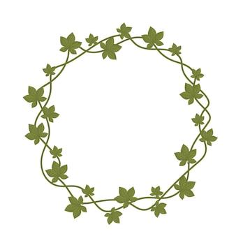 葉の自然の枝の形をした丸いフレームの図