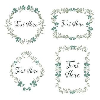 Leaves frame in any shape. vintage floral frame for card, wedding invitation, etc