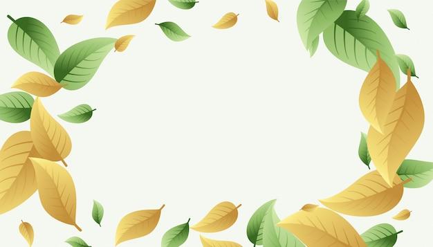 녹색과 옅은 주황색 노란색 그늘에서 프레임 배경 나뭇잎