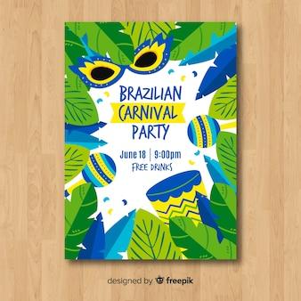 Leaves frame brazilian carnival party poster