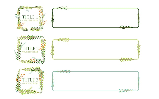 Leaves frame infographic vector with three titles