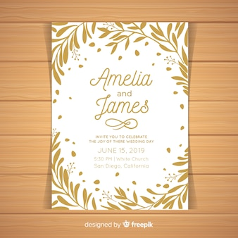 Leaves frame wedding invitation template