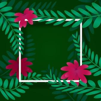 Leaves frame, white frame on background with vegetation. vector illustration