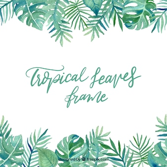 Leaves frame with tropical plants