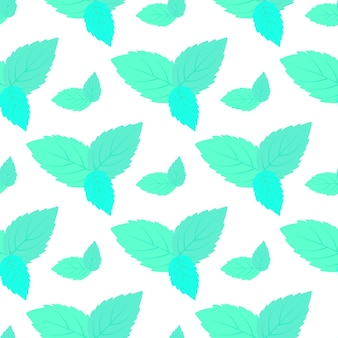 Leaves of fresh mint seamless pattern.  floral background.