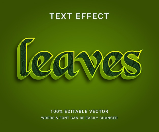 Leaves full editable text effect e