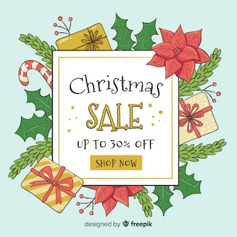 Leaves and gifts christmas sale background