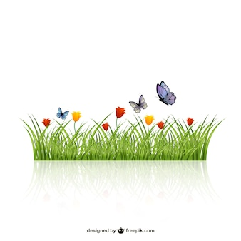 Leaves of grass with butterflies