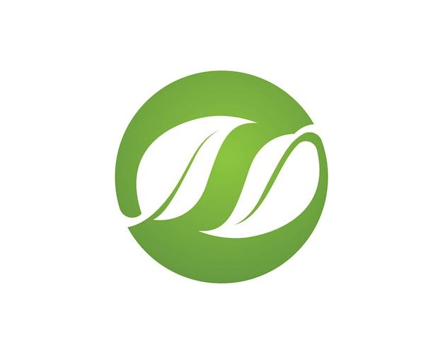 녹색 자연 로고 및 기호 잎