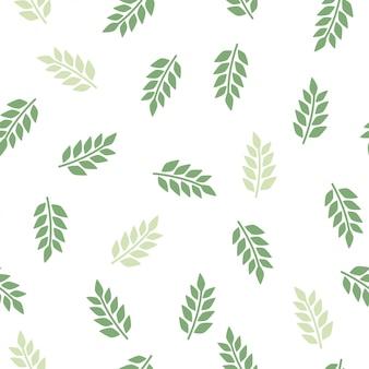 緑のシームレスなパターンを残します。植物の要素を持つ漫画のテクスチャです。