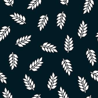 暗い背景に緑のシームレスなパターンを残します。植物の要素を持つ漫画のテクスチャです。壁紙とファブリックのデザイン