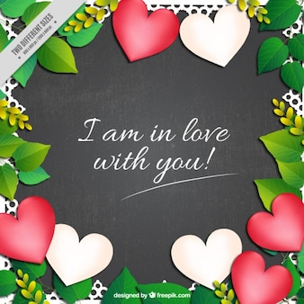 Leaves and hearts background with a love phrase