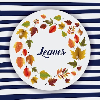 Leaves icon. Autumn season floral garden and nature theme. Colorful design. Striped background. Vect