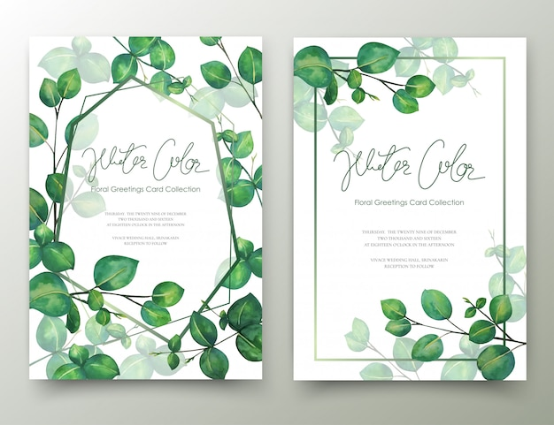 Leaves invitation cards watercolor painting.