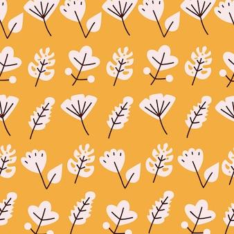 植物の自然な花とテーマのイラストのラインと塗りつぶしスタイルアイコンセットの背景デザインを残します