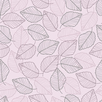 Leaves line hand drawn seamless pattern