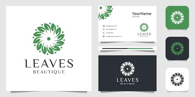 葉のロゴイラストグラフィックデザイン