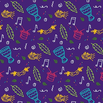 Leaves and music seamless carnival pattern