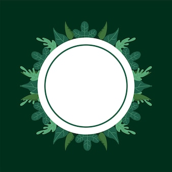 Leaves nature foliage pattern background in circular frame